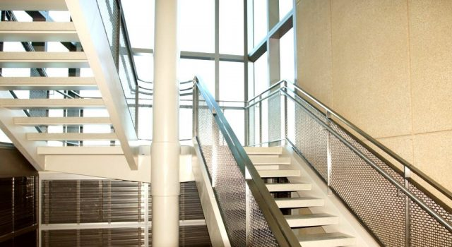 Architectural wire mesh material hospital stairway
