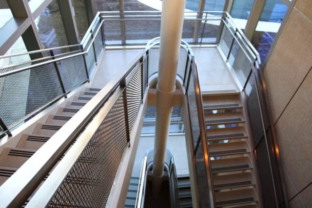 Architectural wire mesh material medical center stairway