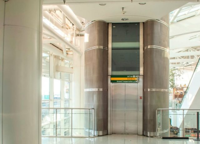 Steel decorative metal mesh JFK terminal elevator exterior