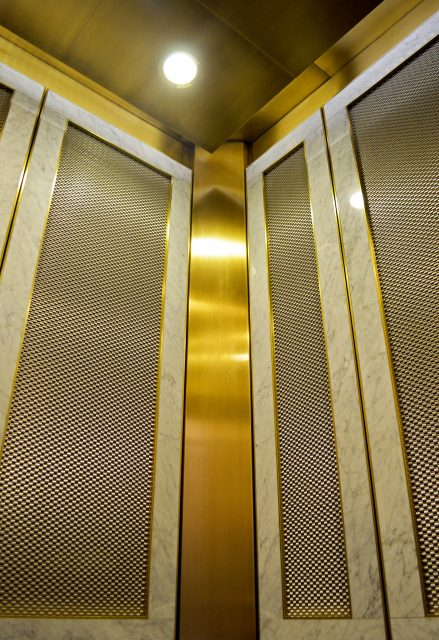 gold woven wire mesh elevator panels