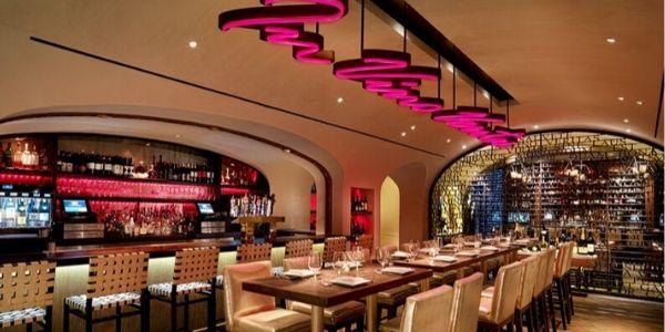 restaurant interior featuring decorative wire mesh
